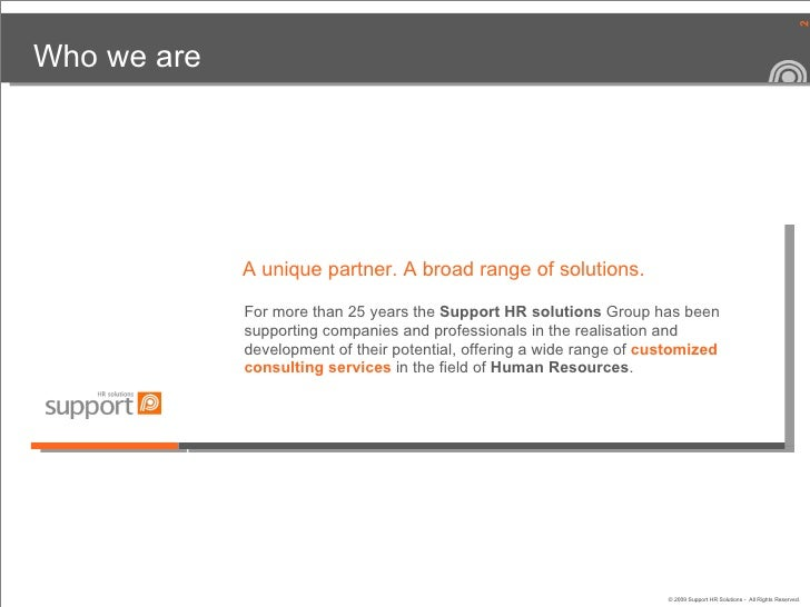Support HR solutions | Company Overview Slide 2