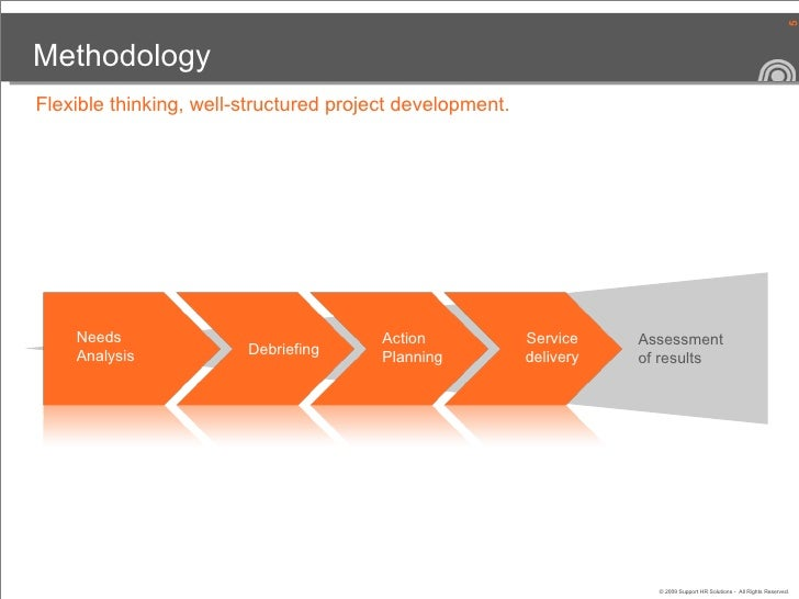 Methodology Needs  Analysis Debriefing Action Planning Service delivery Assessment  of results Flexible thinking, well-str...