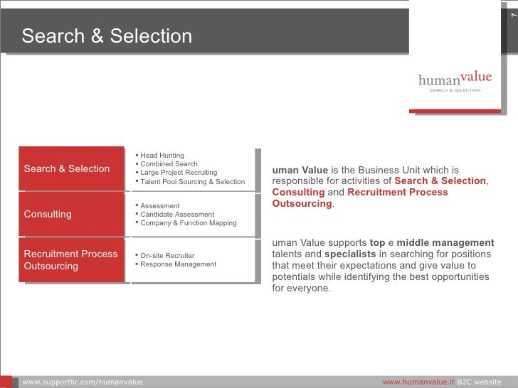 <ul><li>Human Value   is the Business Unit which is responsible for activities of  Search & Selection ,  Consulting  and  ...