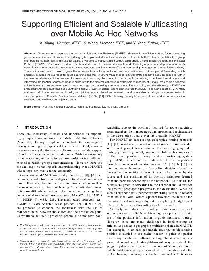 IEEE IEEE TRANSACTIONS ON MOBILE COMPUTING,      TRANSACTIONS ON MOBILE COMPUTING                        VOL. 10, NO. 4, A...