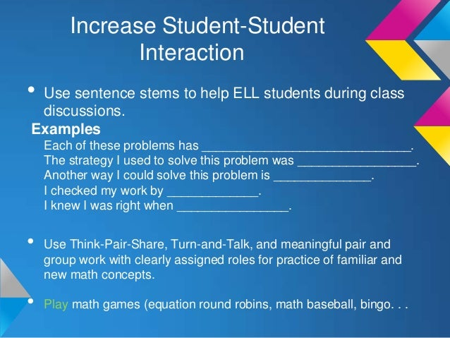 Supporting ELLs in Math