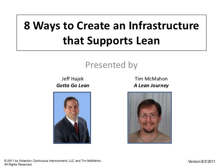 8 Ways to Create an Infrastructure that Supports Lean<br />Presented by<br />Jeff Hajek<br />Gotta Go Lean<br />Tim McMaho...