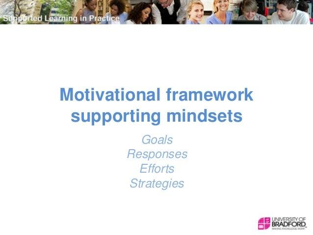 Motivational framework supporting mindsets Goals Responses Efforts Strategies