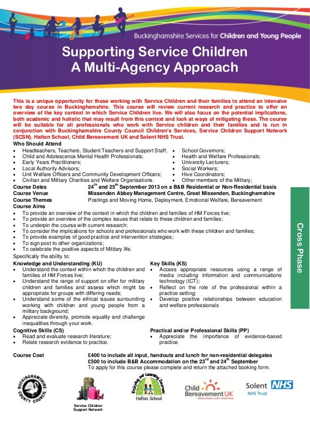 Supporting Service Children                        A Multi-Agency Approach     This is a uniqu...