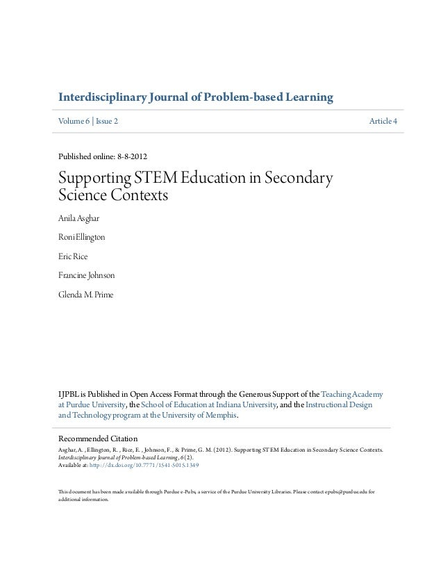 Interdisciplinary Journal of Problem-based Learning Volume 6 | Issue 2 Article 4 Published online: 8-8-2012 Supporting STE...