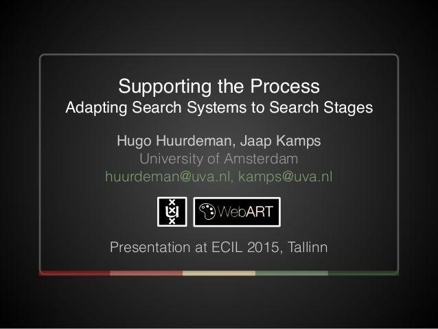 Hugo Huurdeman, Jaap Kamps University of Amsterdam huurdeman@uva.nl, kamps@uva.nl Presentation at ECIL 2015, Tallinn Suppo...