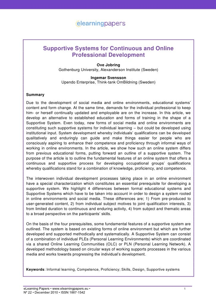 Supportive Systems for Continuous and Online                      Professional Development                                ...
