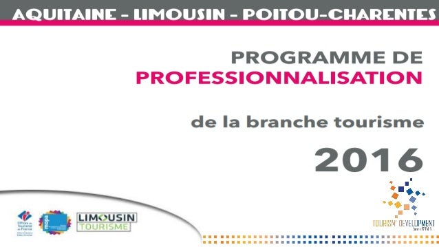 BRANCHE TOURISME Aquitaine Limousin Poitou-Charentes Un réseau de 1600 salariés 1 programme de professionnalisation commun...