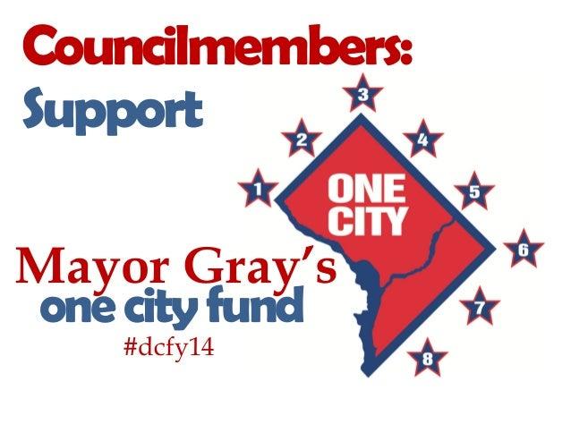 Mayor Gray'sonecityfundCouncilmembers:Support#dcfy14