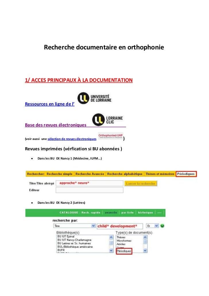 Recherche documentaire en orthophonie1/ ACCES PRINCIPAUX À LA DOCUMENTATIONRessources en ligne de l'Base des revues électr...