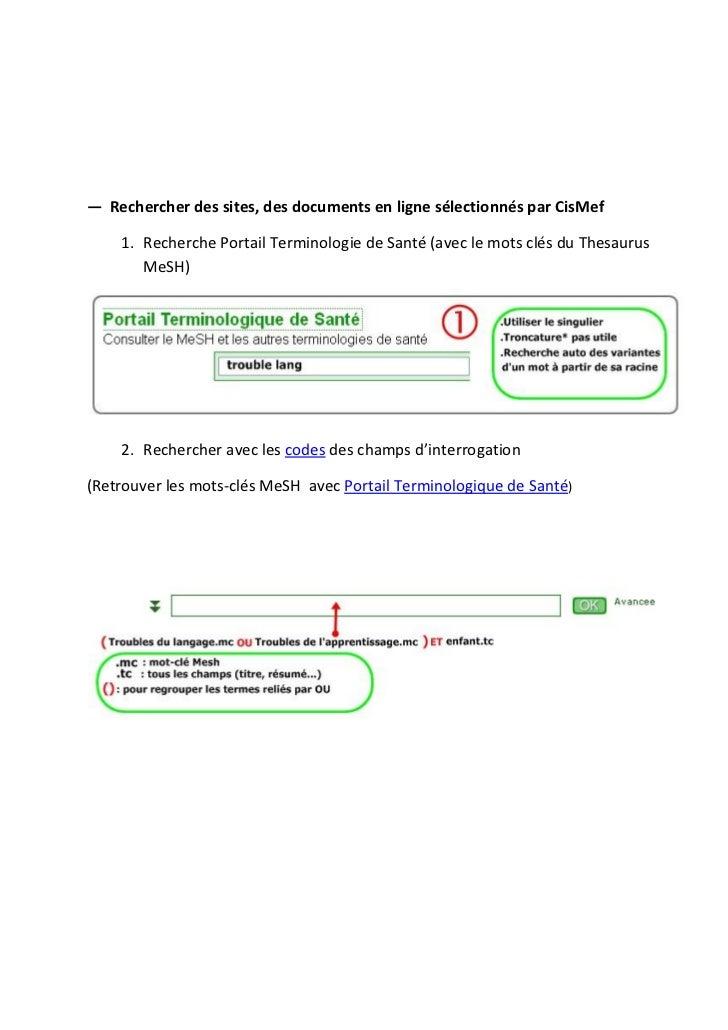 ― Rechercher des sites, des documents en ligne sélectionnés par CisMef    1. Recherche Portail Terminologie de Santé (avec...