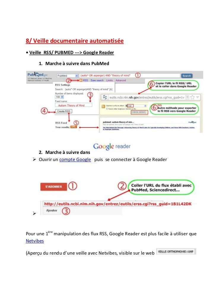 8/ Veille documentaire automatisée• Veille RSS/ PUBMED ---> Google Reader       1. Marche à suivre dans PubMed     2. Marc...