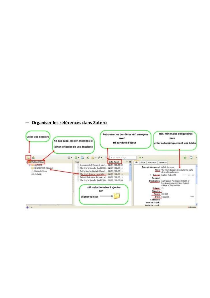 ― Organiser les références dans Zotero