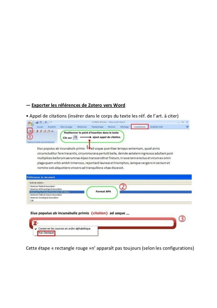 ― Exporter les références de Zotero vers Word• Appel de citations (insérer dans le corps du texte les réf. de l'art. à cit...
