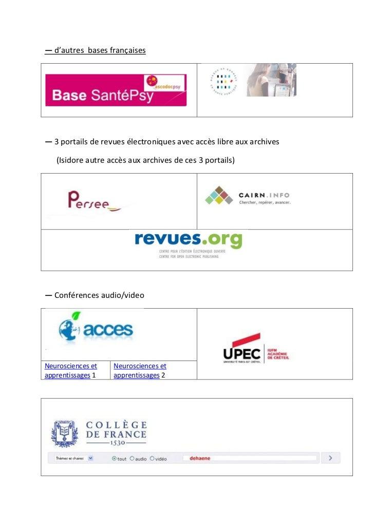 ― d'autres bases françaises― 3 portails de revues électroniques avec accès libre aux archives   (Isidore autre accès aux a...