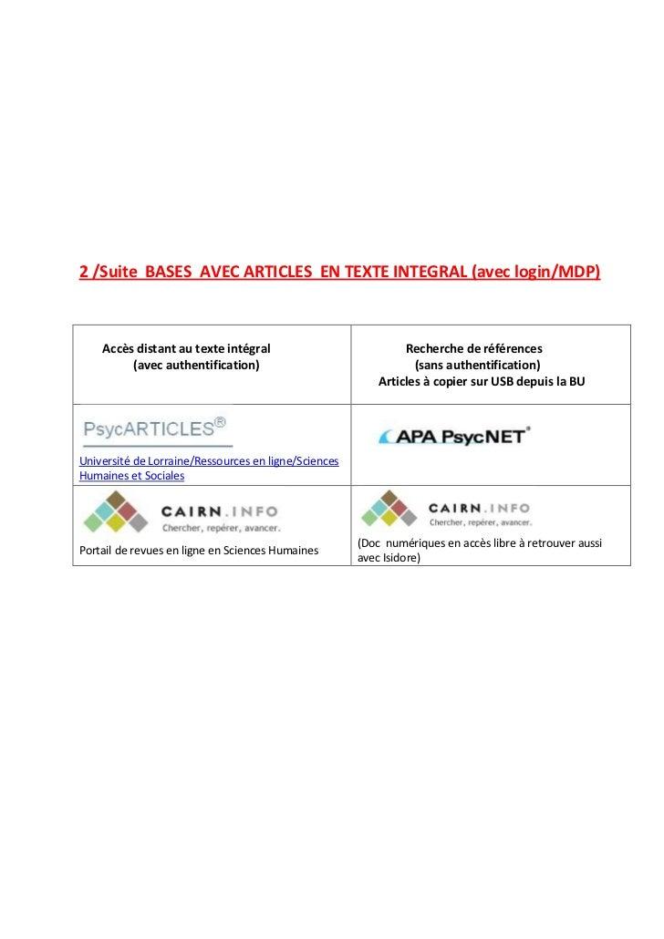 2 /Suite BASES AVEC ARTICLES EN TEXTE INTEGRAL (avec login/MDP)    Accès distant au texte intégral                        ...