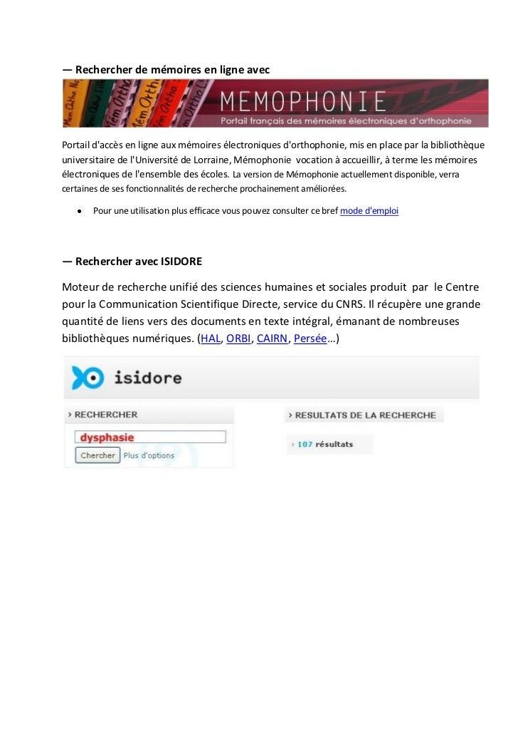 ― Rechercher de mémoires en ligne avecPortail daccès en ligne aux mémoires électroniques dorthophonie, mis en place par la...