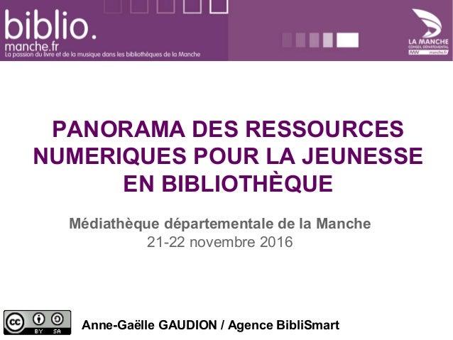 PANORAMA DES RESSOURCES NUMERIQUES POUR LA JEUNESSE EN BIBLIOTHÈQUE Médiathèque départementale de la Manche 21-22 novembre...