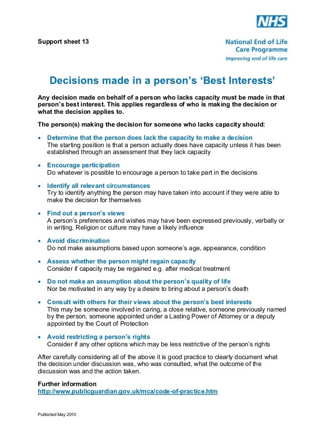 Support sheet 13  Decisions made in a person's 'Best Interests' Any decision made on behalf of a person who lacks capacity...