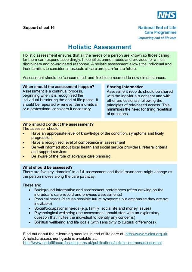 Support sheet 16  Holistic Assessment Holistic assessment ensures that all the needs of a person are known so those caring...
