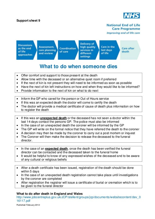 Support sheet 9  What to do when someone dies       Offer comfort and support to those present at the death Allow tim...