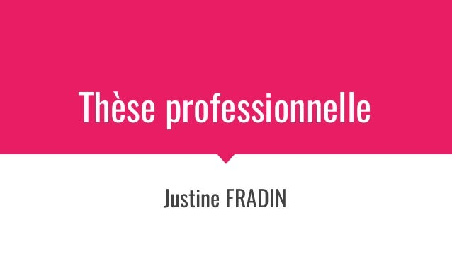 Thèse professionnelle Justine FRADIN