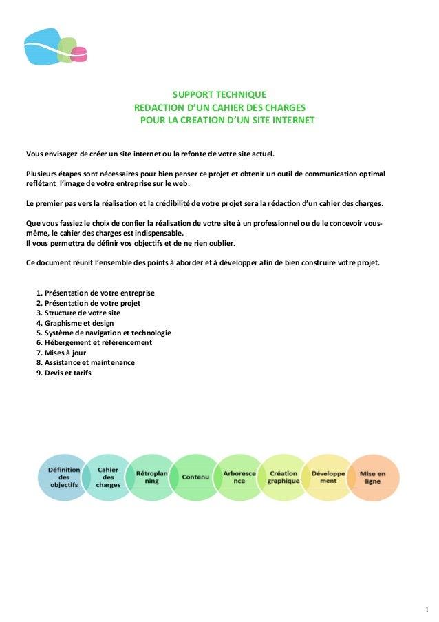 1 SUPPORT TECHNIQUE REDACTION D'UN CAHIER DES CHARGES POUR LA CREATION D'UN SITE INTERNET Vous envisagez de créer un site ...