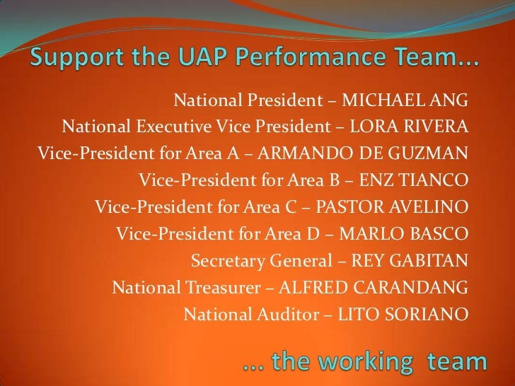 National President – MICHAEL ANG   National Executive Vice President – LORA RIVERAVice-President for Area A – ARMANDO DE G...