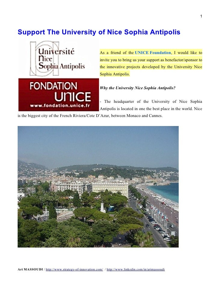 1Support The University of Nice Sophia Antipolis                                                    As a friend of the UNI...