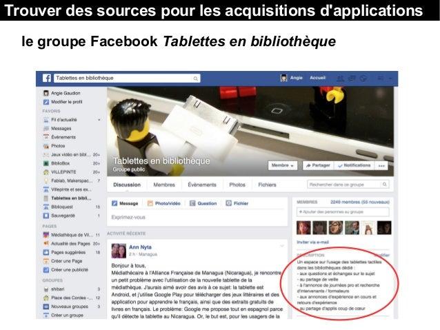 Trouver des sources pour les acquisitions d'applications le groupe Facebook Tablettes en bibliothèque
