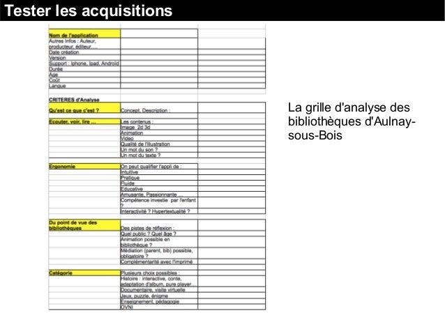 Tester les acquisitions La grille d'analyse des bibliothèques d'Aulnay- sous-Bois