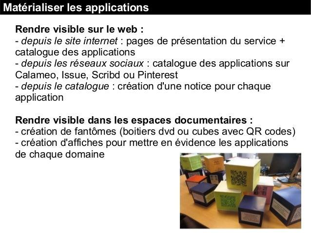 Matérialiser les applications Rendre visible sur le web : - depuis le site internet : pages de présentation du service + c...