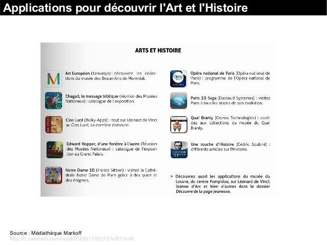 Applications pour découvrir l'Art et l'Histoire Source : Médiathèque Markoff http://fr.calameo.com/read/0020311292721ef011...