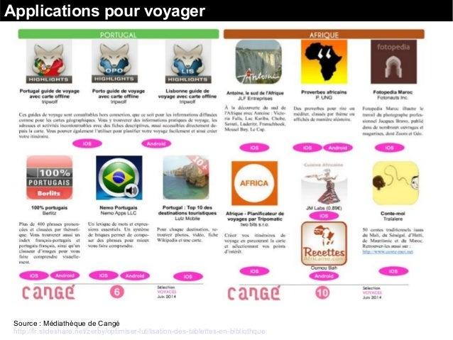 Applications pour voyager Source : Médiathèque de Cangé http://fr.slideshare.net/zerby/optimiser-lutilisation-des-tablette...