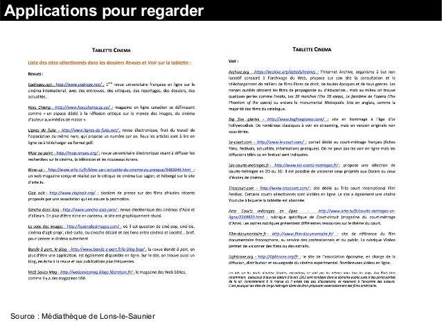 Applications pour regarder Source : Médiathèque de Lons-le-Saunier