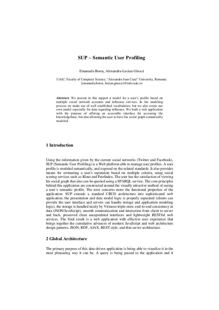 SUP – Semantic User Profiling                        Emanuela Boroș, Alexandru-Lucian Gînscă       UAIC: Faculty of Comput...