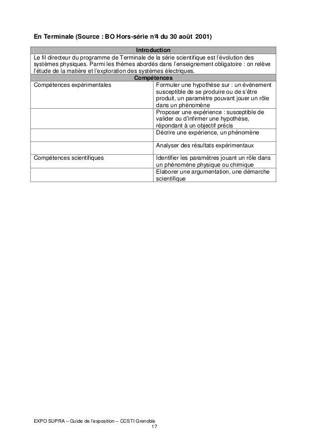 En Terminale (Source : BO Hors-série n° du 30 août 2001) 4 Introduction Le fil directeur du programme de Terminale de la s...