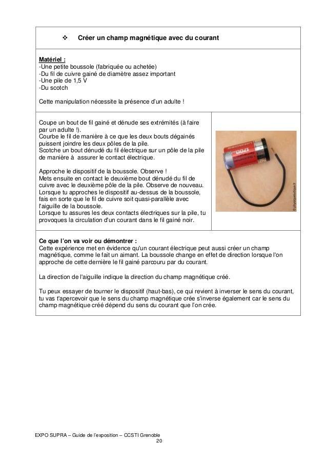 Créer un champ magnétique avec du courant Matériel : -Une petite boussole (fabriquée ou achetée) -Du fil de cuivre gainé d...