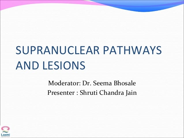 SUPRANUCLEAR PATHWAYS AND LESIONS Moderator: Dr. Seema Bhosale Presenter : Shruti Chandra Jain