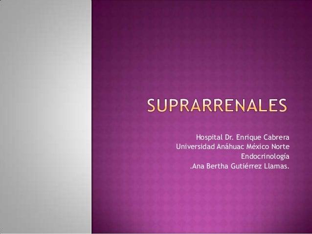 Hospital Dr. Enrique Cabrera Universidad Anáhuac México Norte Endocrinología .Ana Bertha Gutiérrez Llamas.