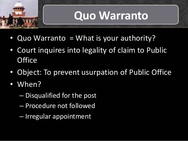 Quo warranto under indian constitution