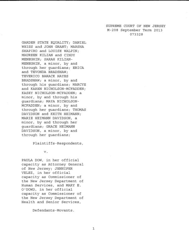 NJ Supreme Court opinion on stay motion for gay marriage