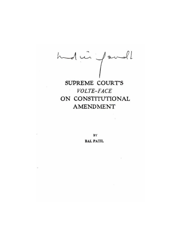 SUPREME COURTS                               VOLTE-FACE    ON CONSTITUTIONAL AMENDMENT                                    ...