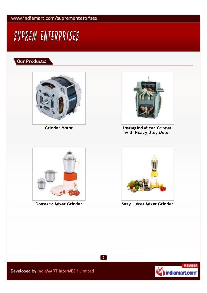 Supreme Enterprises, Mumbai, Mixer Grinder Slide 3
