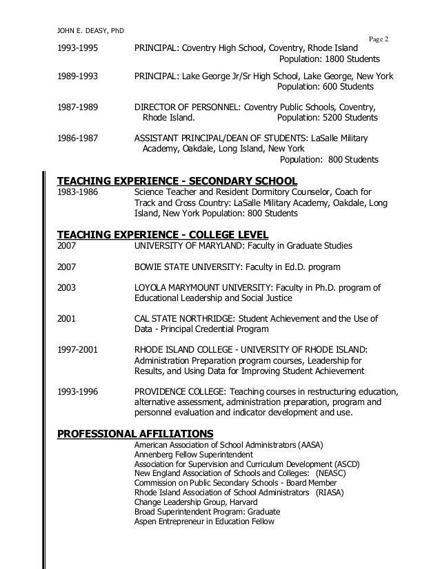 resume for school administrator