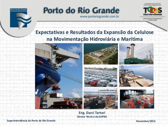 Superintendência do Porto do Rio Grande Novembro/2016 Expectativas e Resultados da Expansão da Celulose na Movimentação Hi...