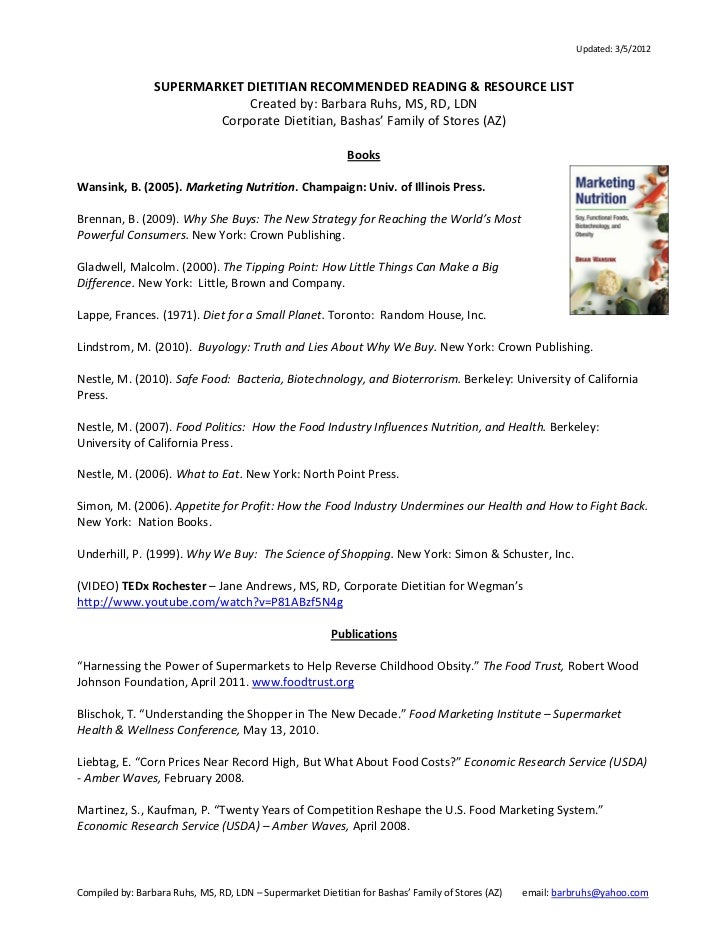 Updated: 3/5/2012                 SUPERMARKET DIETITIAN RECOMMENDED READING & RESOURCE LIST                             Cr...
