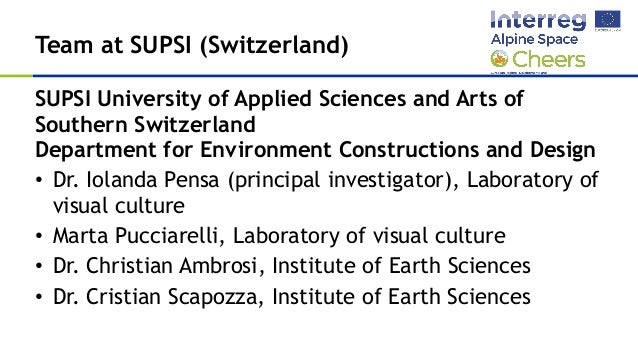 SUPSI - Selection of case studies for the project CHEERS Slide 2