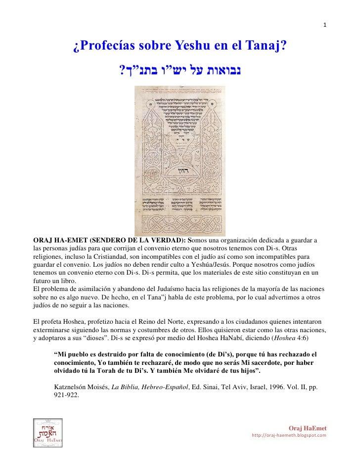 """1             ¿Profecías sobre Yeshu en el Tanaj?                              ?נבואות על יש""""ו בתנ""""ךORAJ HA-EMET (SENDER..."""