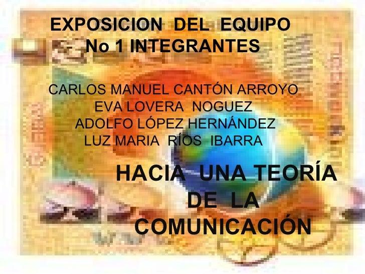 EXPOSICION  DEL  EQUIPO  No 1 INTEGRANTES  CARLOS MANUEL CANTÓN ARROYO  EVA LOVERA  NOGUEZ  ADOLFO LÓPEZ HERNÁNDEZ LUZ MAR...